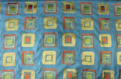 2Y CLARIDGE TXTLE PAVERS MERMAID TEAL GOLD AMBER LINEN UPHOLSTERY DRAPERY FABRIC