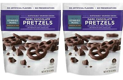 2 Packs Edward Marc Dark Chocolate Covered Pretzels 20 OZ/Pack