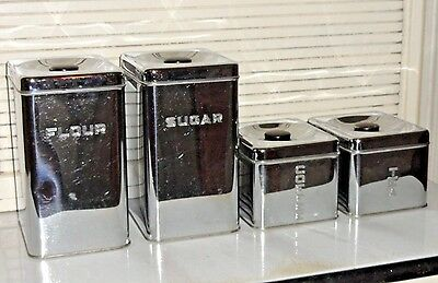 VINTAGE LINCOLN BEAUTYWARE CANISTER SET CHROME & BLACK