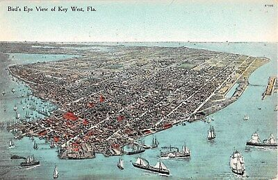 c.1910 Bird's Eye View Key West FL post card