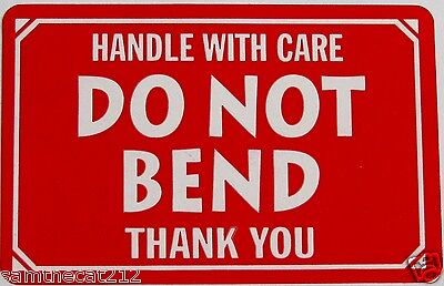 250 2x3 Do Not Bend Handle With Care Label Sticker Free Shipping