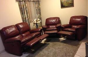 Beautiful real leather with 4 recliners lounge suite sofa set Mirrabooka Stirling Area Preview