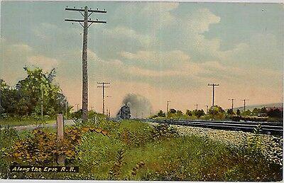 c1907 Along the Erie Railroad near Elmira New York NY postcard view