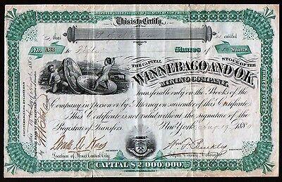 1880 Winnebago & OK Mining Central City Colorado Genuine Stock Certificate RARE