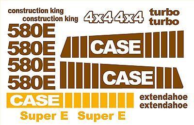 Case 580 E Super E 4x4 Loader Backhoe Construction King Decals Sticker Set 580e