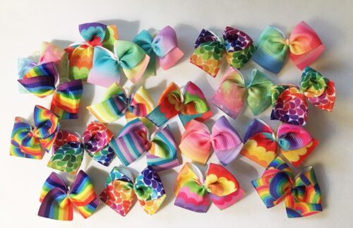 Dog Grooming Bows 20 top quality Rainbow Dog Bows Child Bows  Yorkie Poodle USA