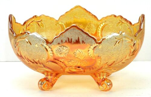 Vintage Jeannette Flora gold LOMBARDI Iridescent Carnival Glass Oval Footed Bowl