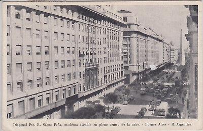 BUENOS AIRES, ARGENTINA. DIAGONAL PTE. SAENZ PENA. VINTAGE POSTCARD PM 1924