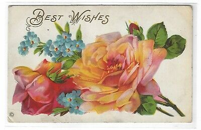 VTG Post Card Best Wishes Pink Roses Blue Flowers (Best Birth Announcement Cards)