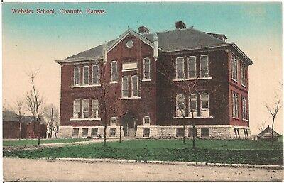 Webster School in Chanute KS Postcard