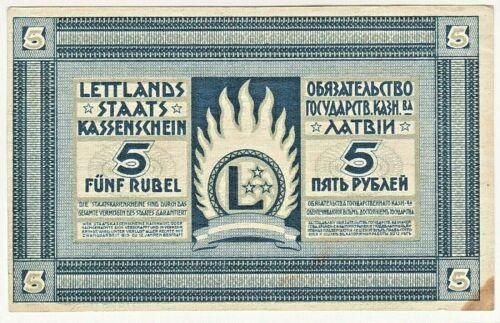 1919 Latvia 5 Rubli / Rubles , P-3f Crisp