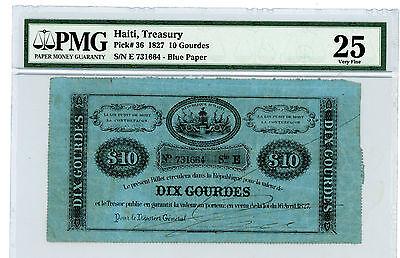 Haiti … P-36 … 10 Gourdes … 1827 … *VF+*