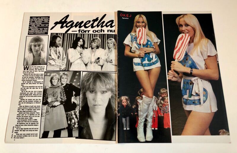 AGNETHA FÄLTSKOG 1983 ABBA Clipping Poster Swedish magazine Okej Vintage 1980s