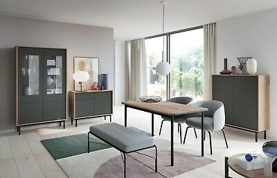 Living Room Furniture Set Display Cabinet TV Unit Graphite Wood Effect Long Legs ()