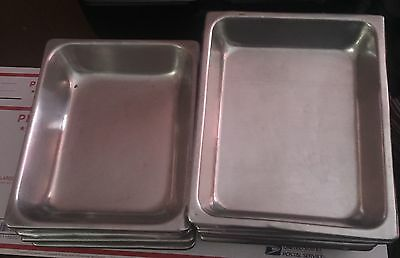 Lot of 6 Stainless Steel Half-Size Insert Pans Steam Table Salad Bar