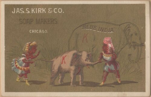 Victorian Trade Card-Blue India Soap-J S Kirk & Co-Soaps-Chicago-IL-Elephants