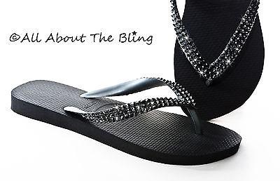 Havaianas flip flops or Cariris wedge sandal using Swarovski Black crystals