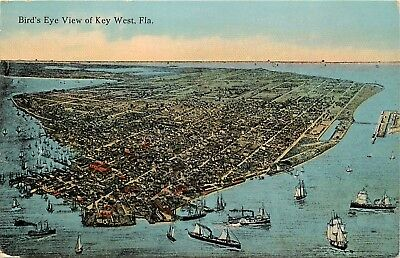 DB Antique FL Postcard E008 Birds Eye View of Key West Sailing Ships ca1910