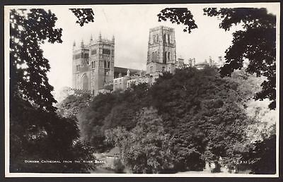 County Durham - Durham Cathedral from the River Bank - RP Postcard. Walter Scott