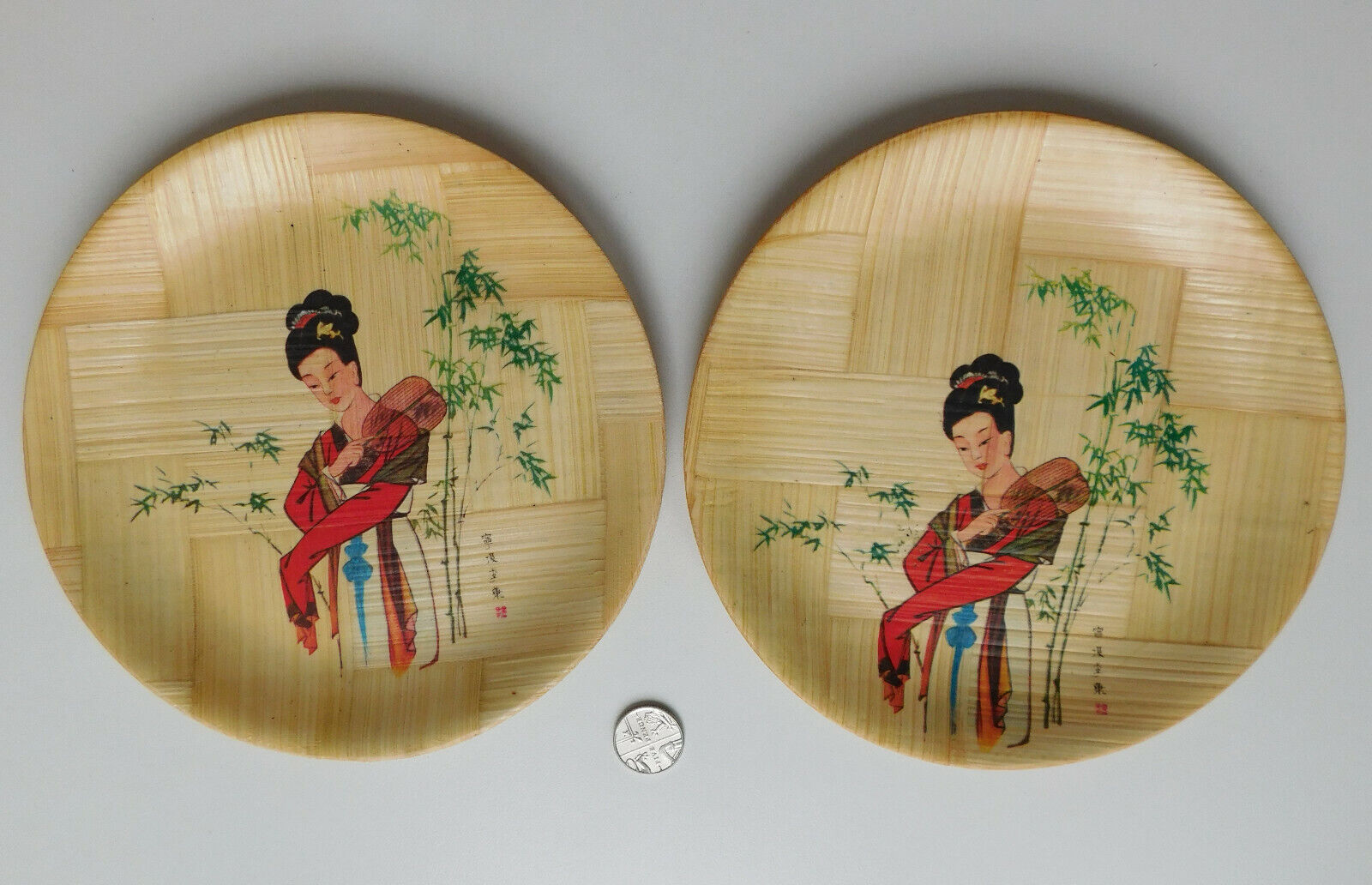 2 vintage bamboo plates pictures of oriental ladies and fans Chinese folk art 6""