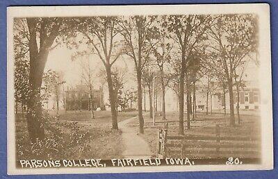 c1910 RPPC Parsons College campus path thru trees, Fairfield Iowa IA closed 1973