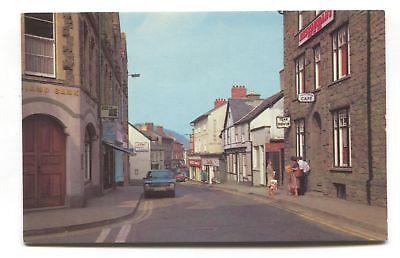 Builth Wells, Breconshire - Main Street, shops, cafe, car - 1970's postcard
