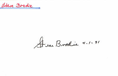 """Steve Brodie 1919-92 genuine autograph signed card 4""""x6"""" US actor"""