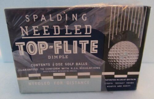 UNOPENED BOX-6 WRAPPED SPALDING TOP FLITE NEEDLED DIMPLE DOUBLE DOT BALLS-RARE