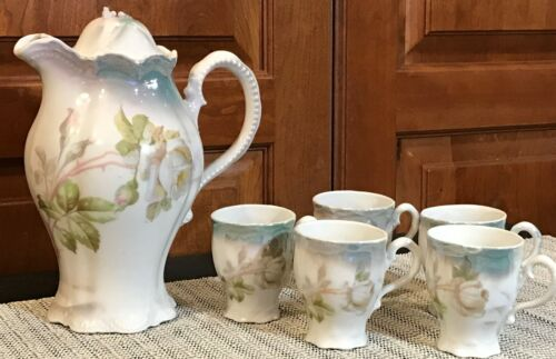 Antique Chocolate Set Leuchtenburg China Germany Pot & 5 Cups White Rose,Luster