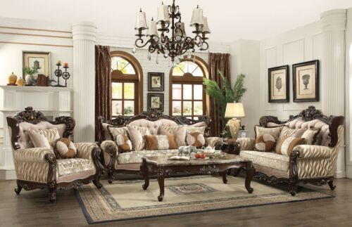 Traditional Luxury Living Room Furniture 3p Sofa Set Exposed Carved Wood Frames