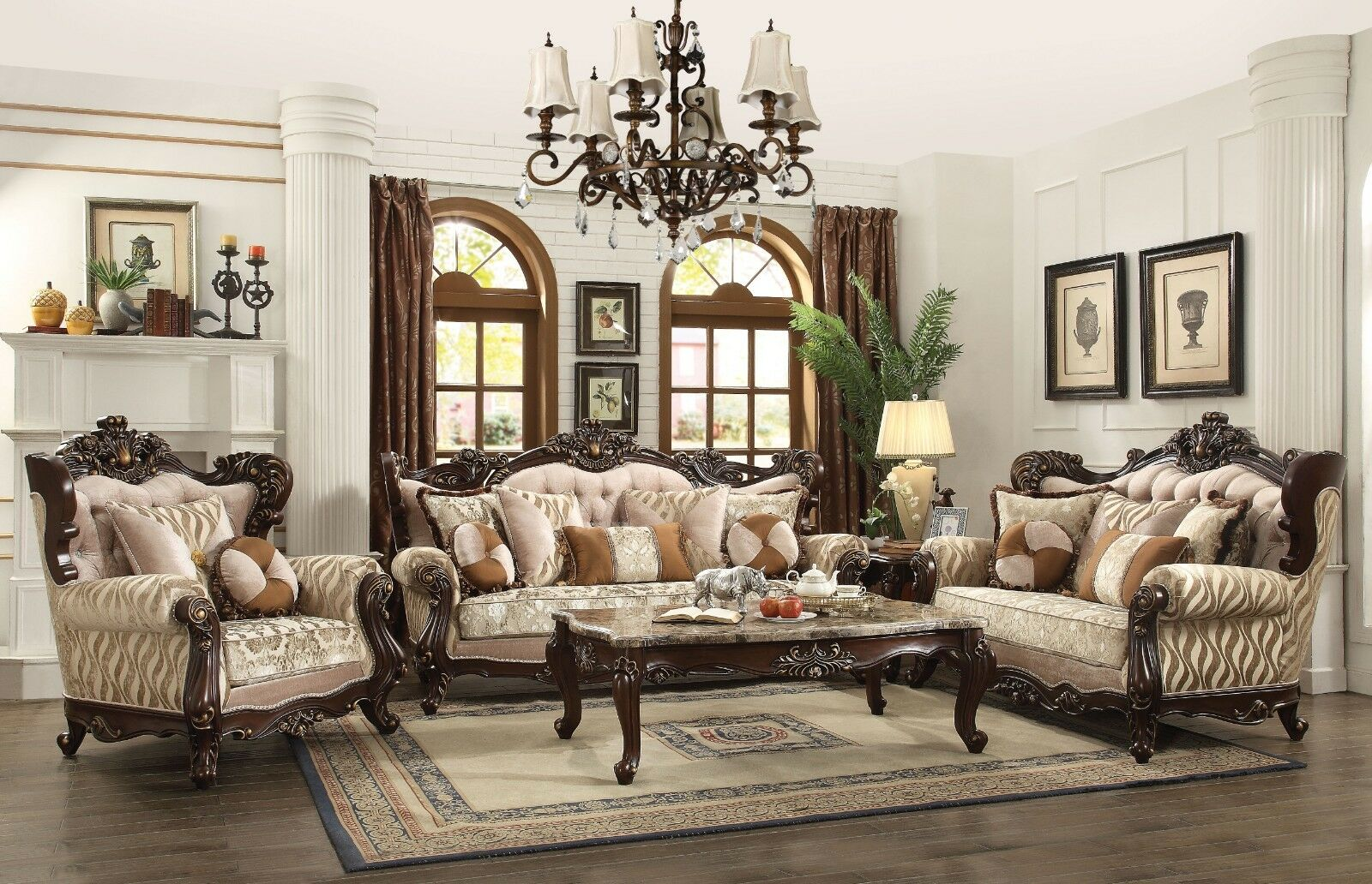 Details about traditional earth tone living room furniture sofa set exposed carved wood frames
