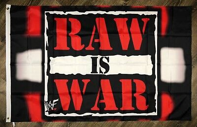 WWF RAW IS WAR Flag 3x5 ft Black Banner World Wrestling Federation WCW, WWF, WWE - Wwe Banner