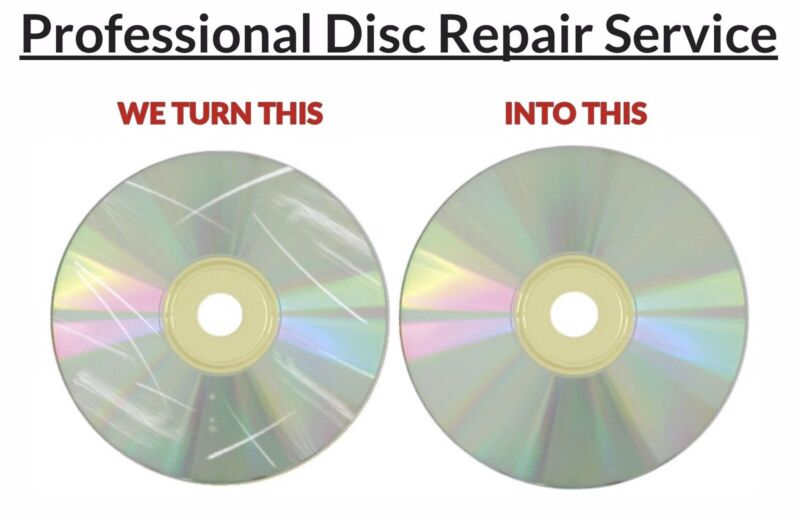 10x Disc Repair Service Scratch Removal CDs DVDs Video Games Movies Audio Books