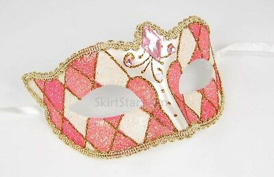 Venetian Masquerade Mask Pink Glitter Diamond Prom Ball Tooth Fairy Costume New - Womens Tooth Fairy Costume