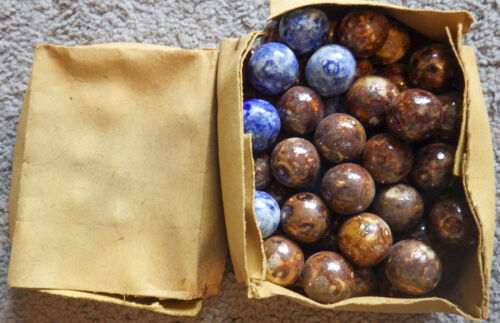 "BB Marbles: Original Antique German Box of 50 1"" Benningtons (BB335)"