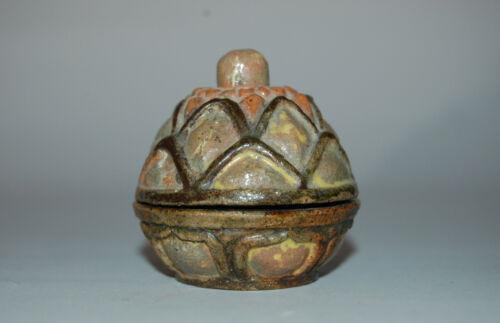 Vintage ceramic kogo incense box, lotus flower bud shape, Japan
