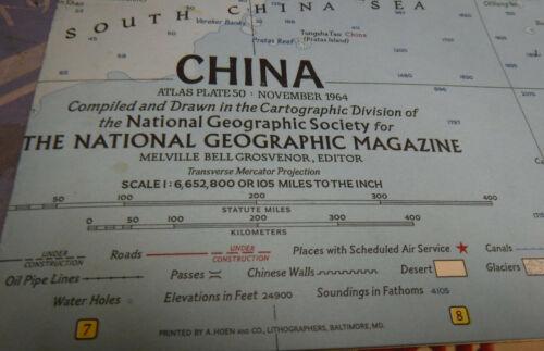 Vintage China Map November 1964 National Geographic Society