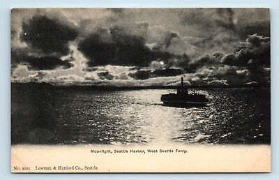 WASHINGTON - RARE PRE 1908 MOONLIGHT VIEW OF WEST SEATTLE FERRY - POSTCARD - A3