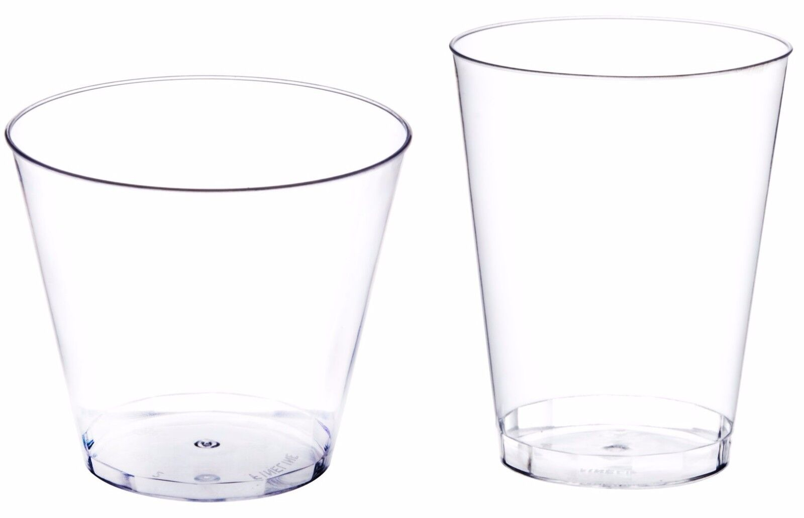 Clear Disposable Hard Plastic Cups- 5 Sizes - Rigid Tumbler