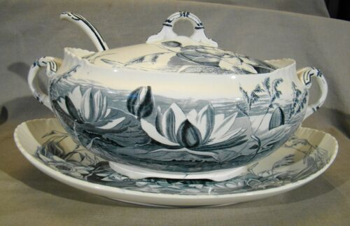 Antique George Jones Lily Pattern Soup Tureen Cover Ladle & Underplate 1891-1924