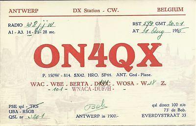 OLD VINTAGE ON4QX ANTWERP BELGIUM AMATEUR RADIO QSL CARD