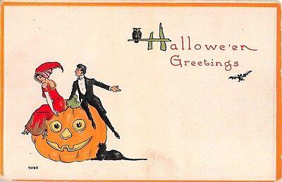 Romantic Halloween Cards (1912 Romantic Couple Sitting on Jack O' Lantern Black Cat Halloween post)