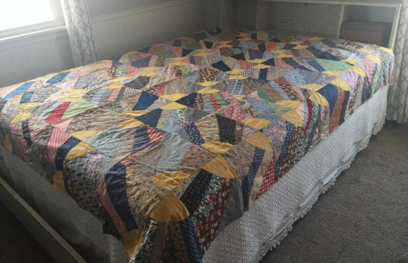 Vintage Quilt Top Hand Stitched Feed Sack & Vintage Cotton Patchwork 75x84.5