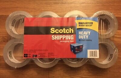 Scotch 3m Clear Heavy Duty Shipping Packing Packaging Tape 8 Rolls Total 437 Yd