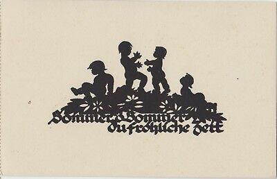 SILHOUETTE Children Nude SUMMER Flowers Happy FANTASY German PC c1930s