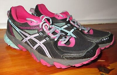 ASICS Gel-Sonoma 2 Trail Runner shoes Size 9.5 black / aqua / pink Runner 2 Trail Running Shoe