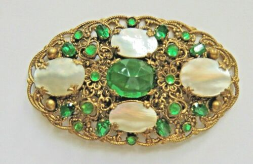 ANTIQUE CZECH ART DECO MABE MOP MOTHER OF PEARL GREEN JEWELED GLASS BROOCH PIN