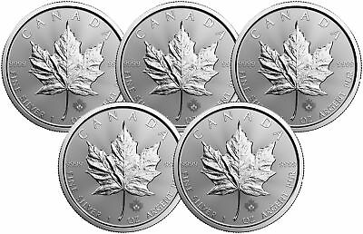Lot of 5 - 1oz Canadian Silver Maple Leaf $5 Coins .9999 Fine BU (Random Date)