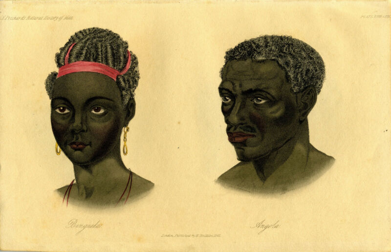 "1842 Genuine Antique Hand Colored Portrait ""Benguela & Angola"". Prichard"