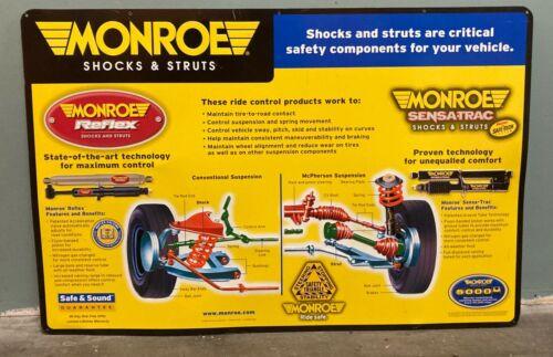 "LARGE MONROE SHOCKS 35"" by 23"" GAS & OIL CAR TRUCK GARAGE TIN SIGN NICE!"